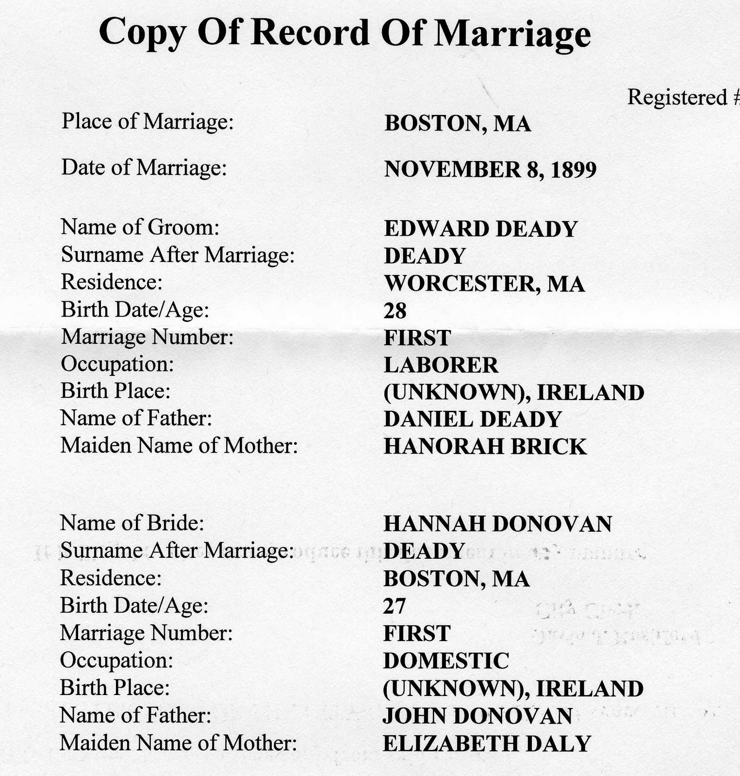 Deedy blog edward deedy and hannah donovan marriage recently i received the marriage certificate for edward deedy and hannah donovan from the city of worcester below are the details aiddatafo Image collections